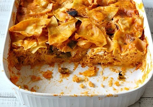 Mexican Chicken Casserole with Hatch chile and a creamy tomato sauce.