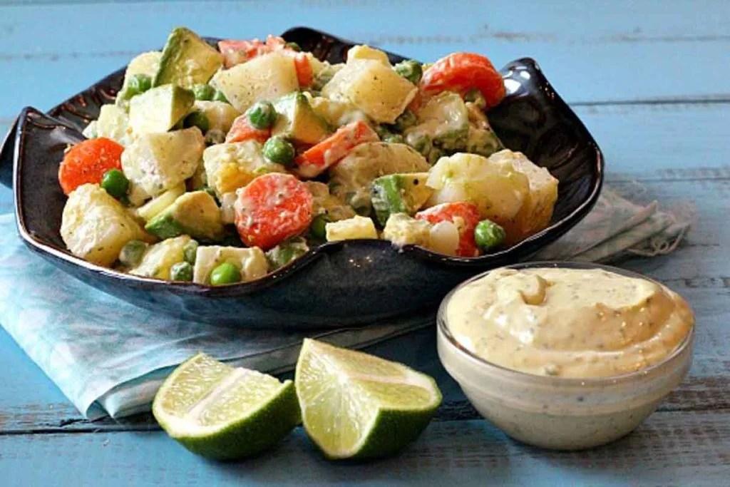 avocado potato salad with carrots and peas and avocado dressing