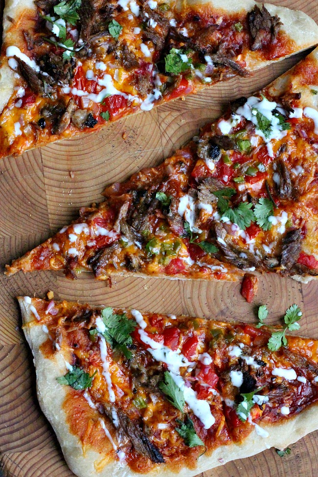 Black Bark Beef Brisket Pizza. A wonderful beef pizza recipe with BBQ Sauce.