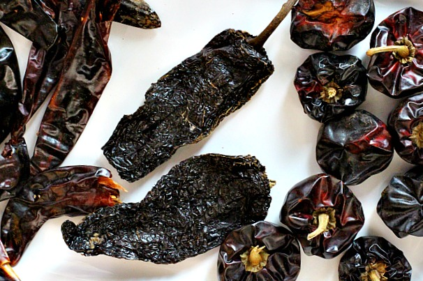 An assortment of dried chile peppers to make red chile sauce