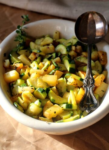 Potato Zucchini Skillet. Gently seasoned and sauteed into a beautiful Summer side dish.