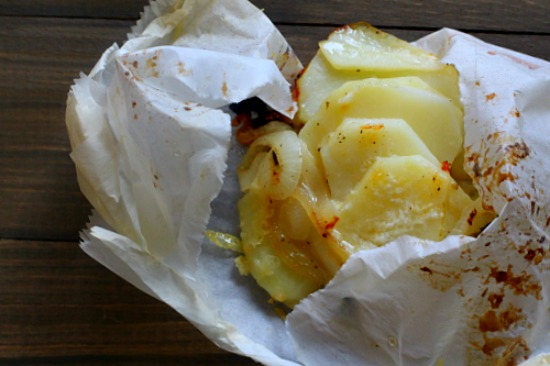 Pouch Potatoes with Ementhaler Cheese, Onions and Cream. A great potato side dish.
