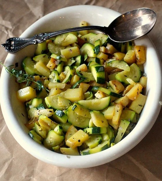 Zucchini and Potato Skillet. A beautiful easy Summer vegetable side dish.