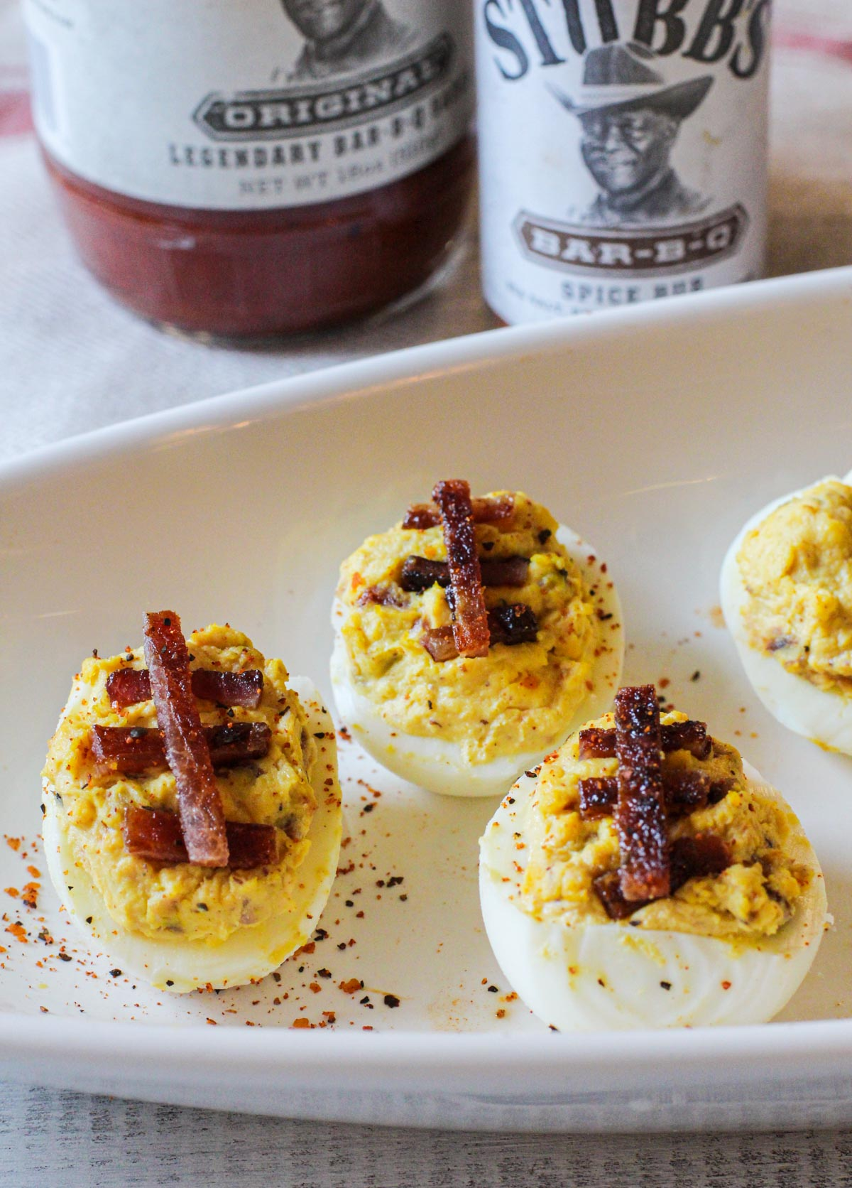 Deviled eggs recipe with bacon to look like football deviled eggs