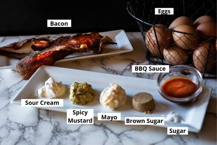 Ingredients to make football deviled eggs recipe with bacon