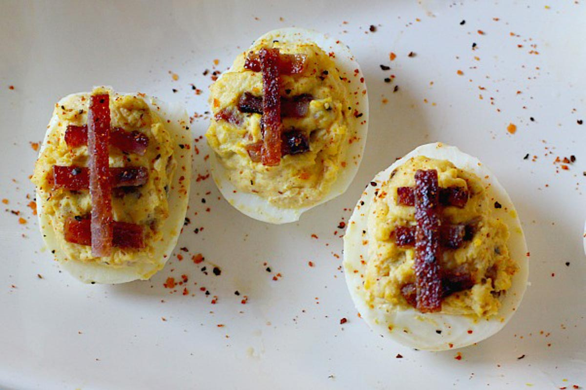Game day food, deviled eggs to look like footballs