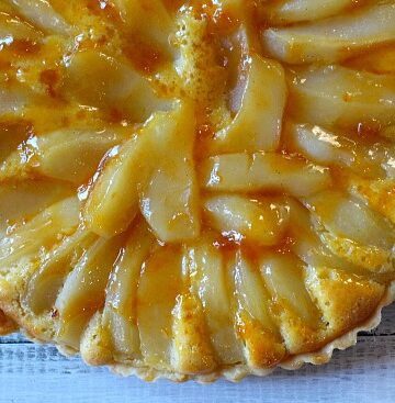 French pear tart bourdaloue with frangipane and Apricot Rum Glaze