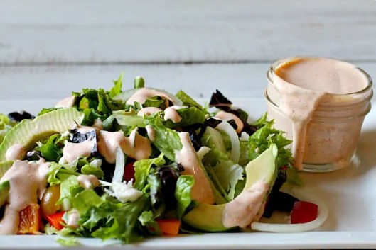Tossed salad drizzled in New Mexico Red Chile Buttermilk Ranch Dressing.