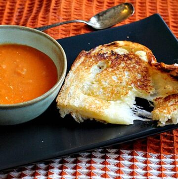 Fancy grilled cheese sandwich with Gruyere Cheese and White Truffle Butter.