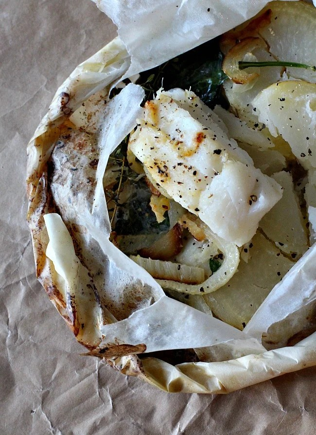 Steamed Cod in parchment paper.