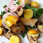 Steamed Cod in Parchment with Spinach Mushrooms and Potatoes