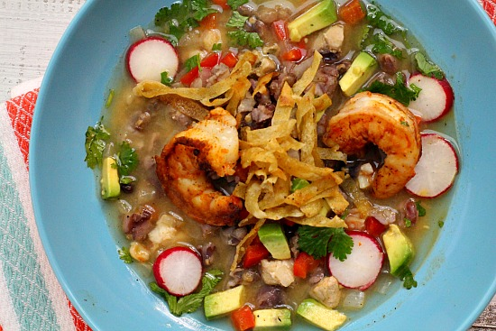 Blue Corn Posole with Shrimp
