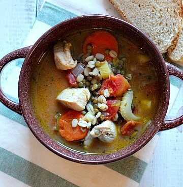 Healthy Hearty Turkey Lentil Barley Soup