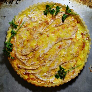 Crab quiche recipe with cottage cheese, monterey jack cheese and diablo cream sauce
