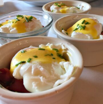 Individual mashed potato breakfast ramekins with bacon and poached eggs