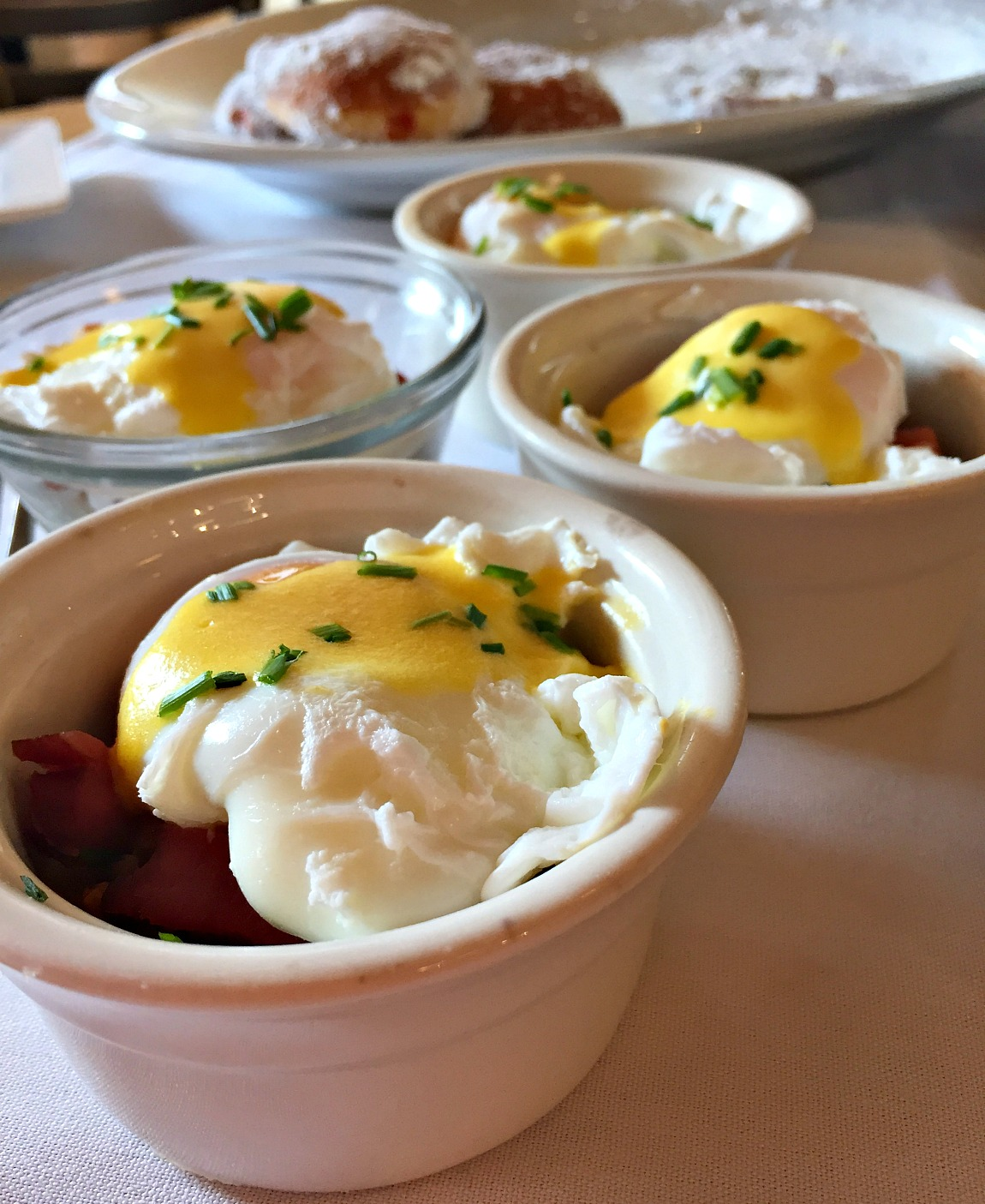 No bake individual mashed potato breakfast ramekins with bacon and a poached egg
