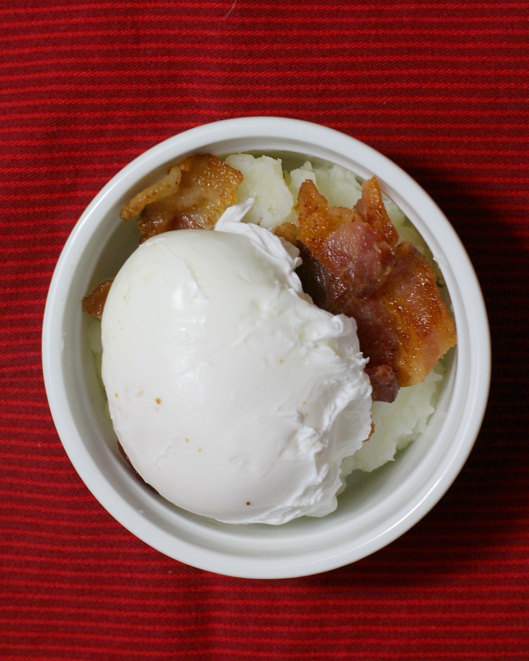 mashed potato bacon poached egg breakfast ramekin