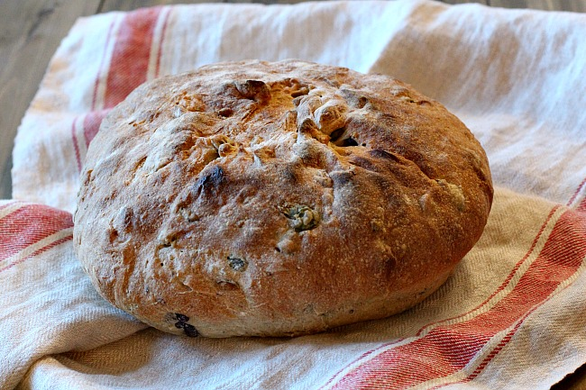 A Loaf of Homemade Olive Rosemary bread. A beautiful homemade bread recipe.
