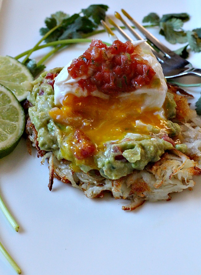 Hash Browns guacamole poached eggs breakfast and salsa