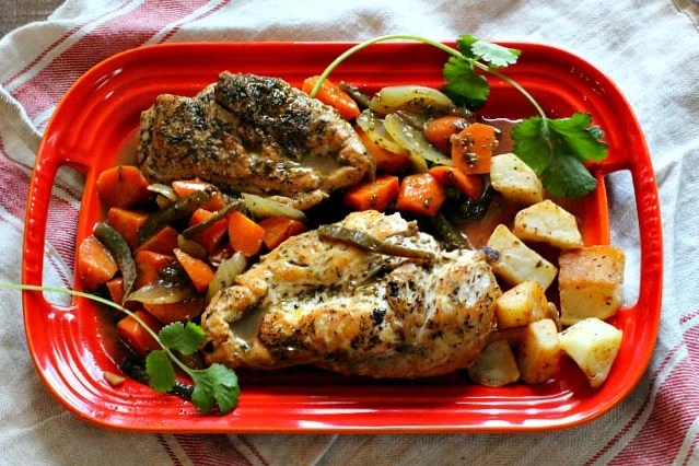Mexican Chicken in Tangy Escabeche on Le Creuset Red Serving Platter