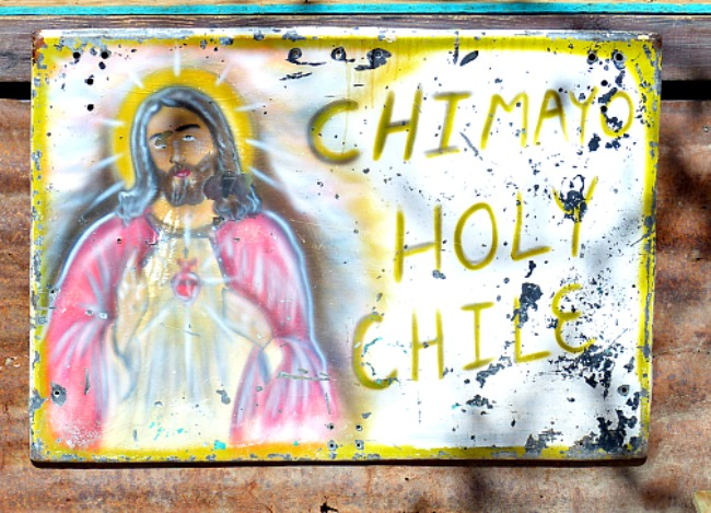A sign Chimayo New Mexico. Holy Chile