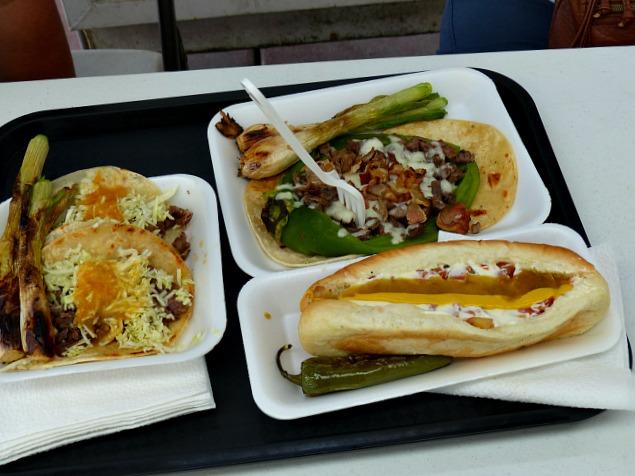 Sonoran Hot Dog and tacos at Aqui Con El Nene taco truck in Tucson