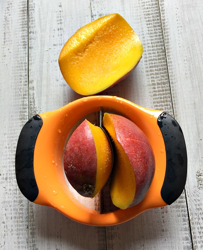 OXO Tool to slice mangoes for mango cream cheese stuffed french toast
