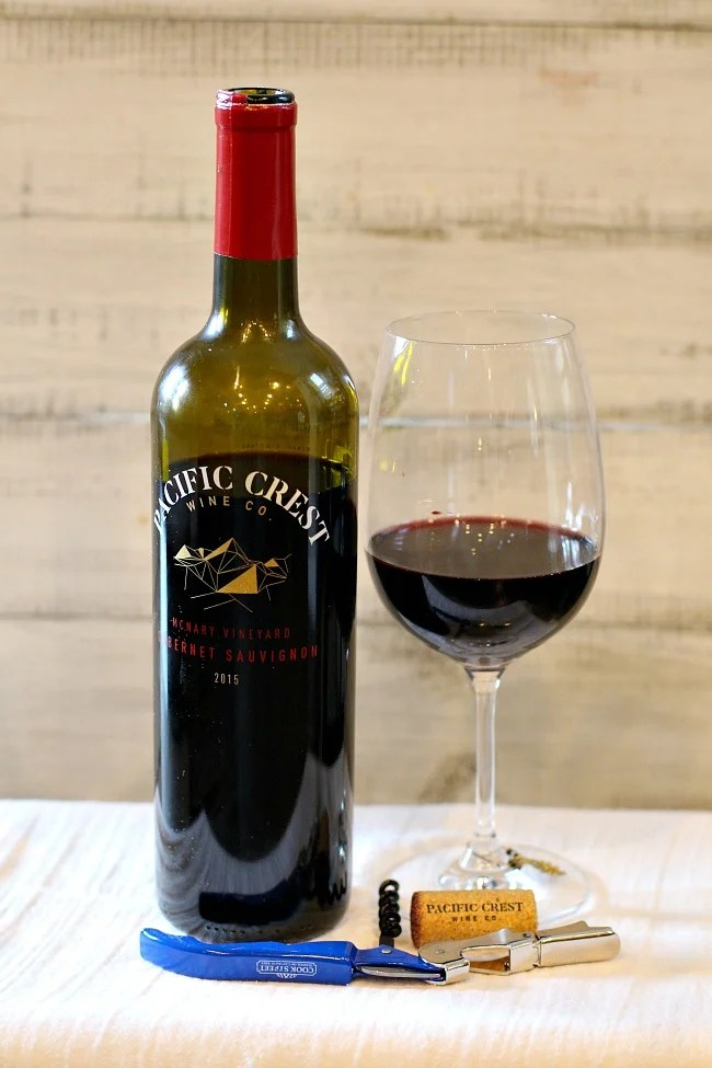 A bottle of Washington State Cabernet Sauvignon Pacific Crest wine.