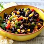 Black bean corn salsa with tomatoes and chipotle.