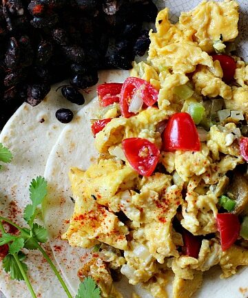 Eggs Rio Grande - Mexican scrambled eggs served on a flour tortilla