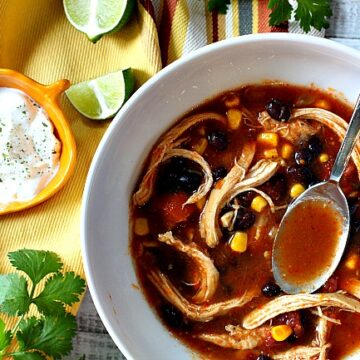 Mexican Chicken Soup Recipe made in the Pressure Cooker. Served with lime and sour cream.