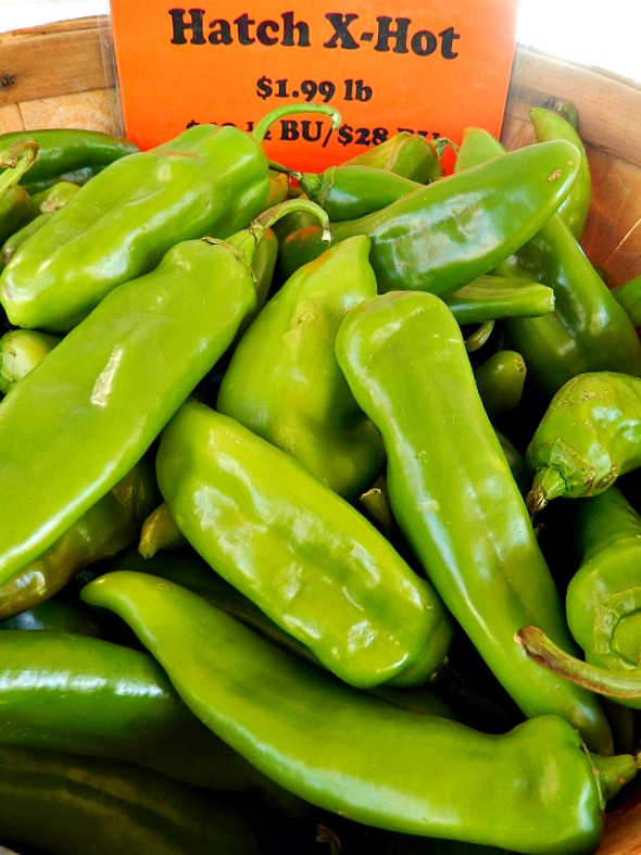 Extra Hot Hatch Chile Peppers in a bushel basket