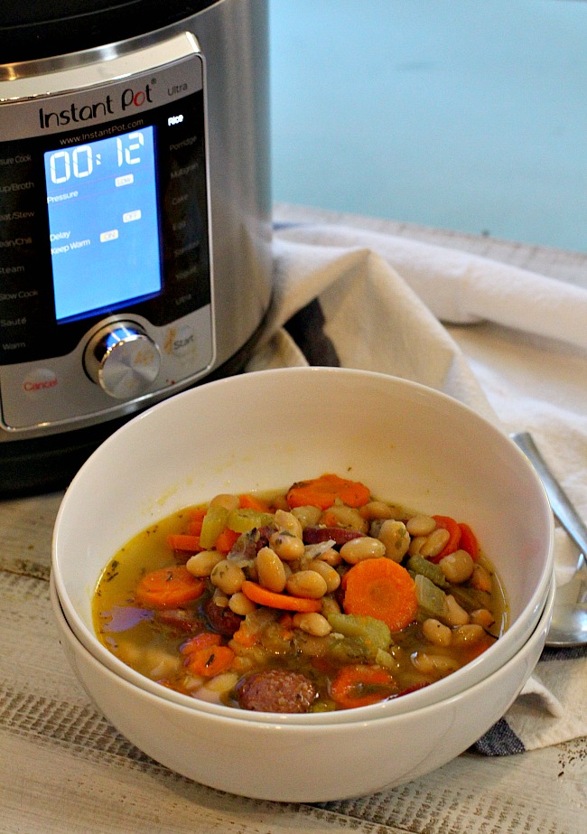 Sausage and beans with carrots, celery and onions made in the Instant Pot