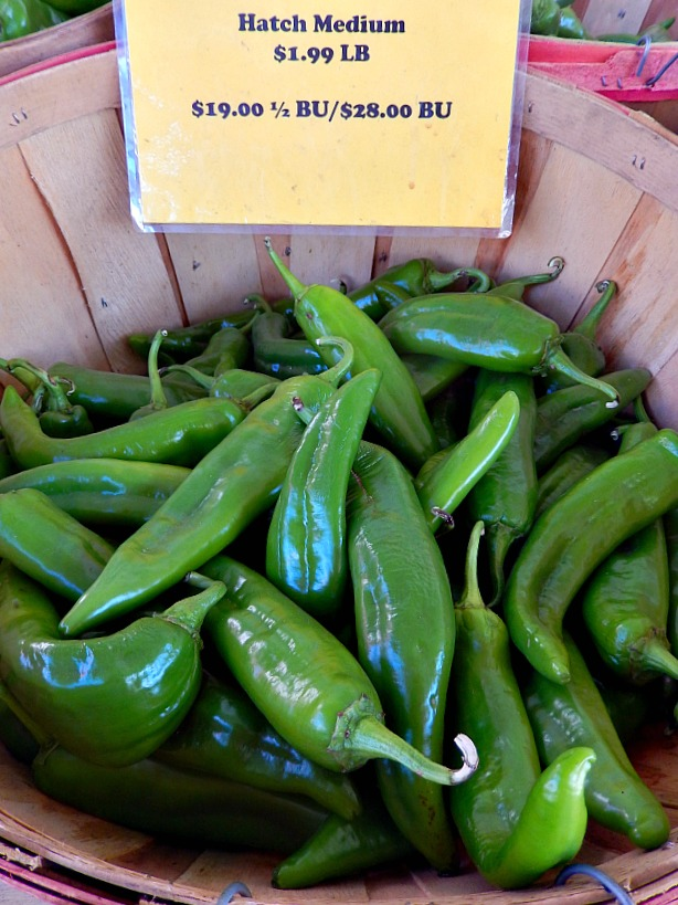 A bushel basket of Hot Hatch Chile Peppers
