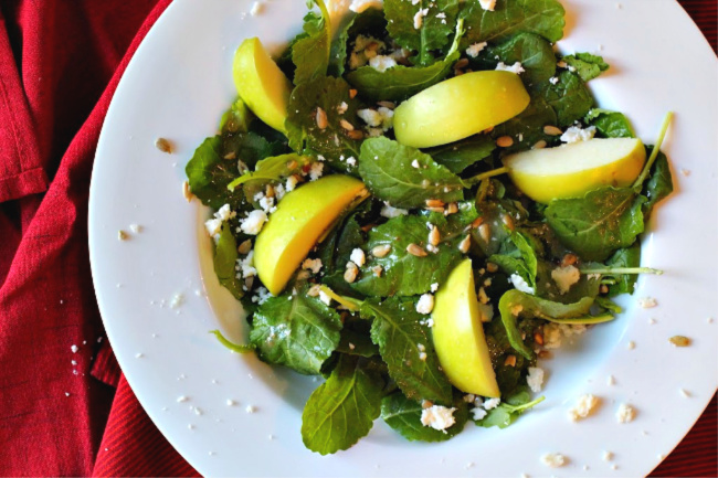 Kale and apple salad with cider vinaigrette