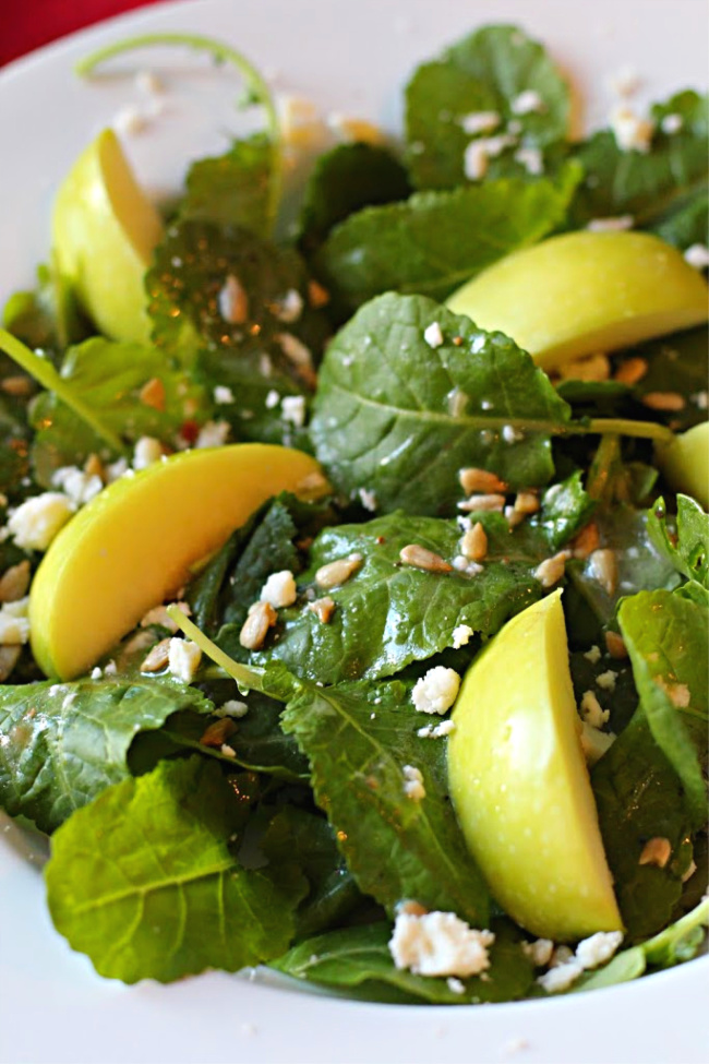 Kale and apple salad with sunflower seeds and cider vinaigrette