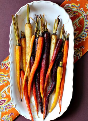 Roasted Glazed Carrots on a white serving platter