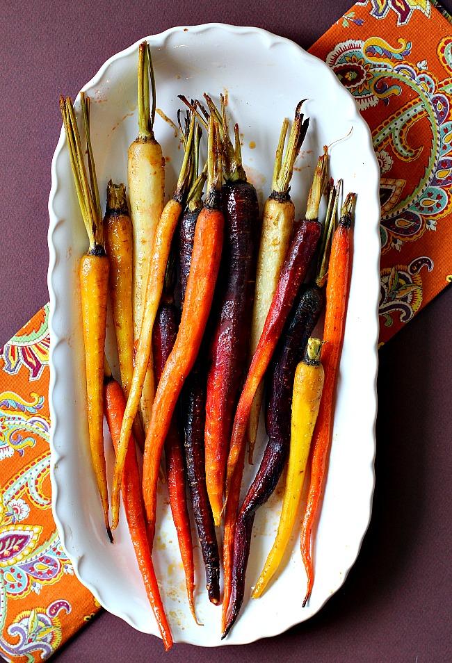 Roasted Glazed Carrots on a white serving platter