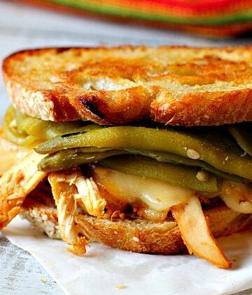 Pueblo Chile Chicken Sandwich on toasted white bread