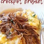 Slow Cooker Coca Cola Brisket over mashed potatoes