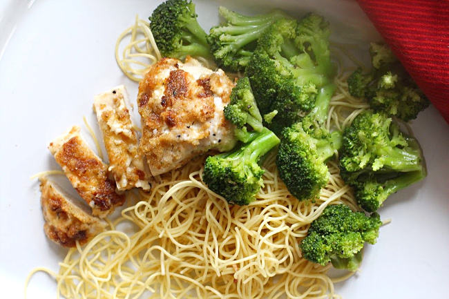 Parmesan baked chicken served with angel hair pasta and steamed broccoli