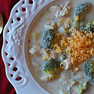 Cheesy chicken chowder wit broccoli corn and potatoes