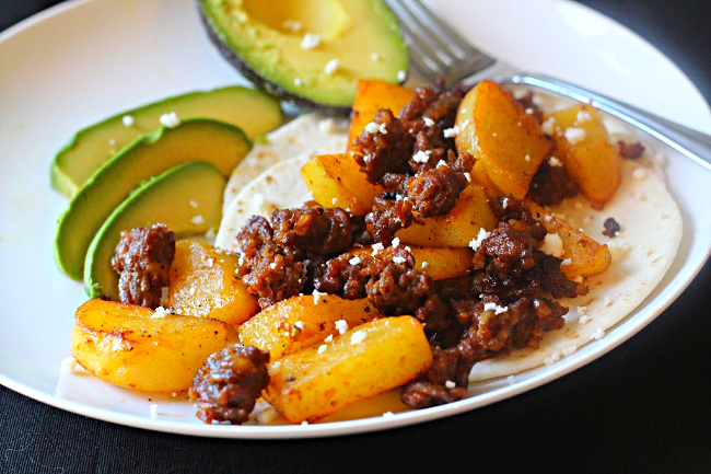 Chorizo Potato Breakfast Tacos with avocado