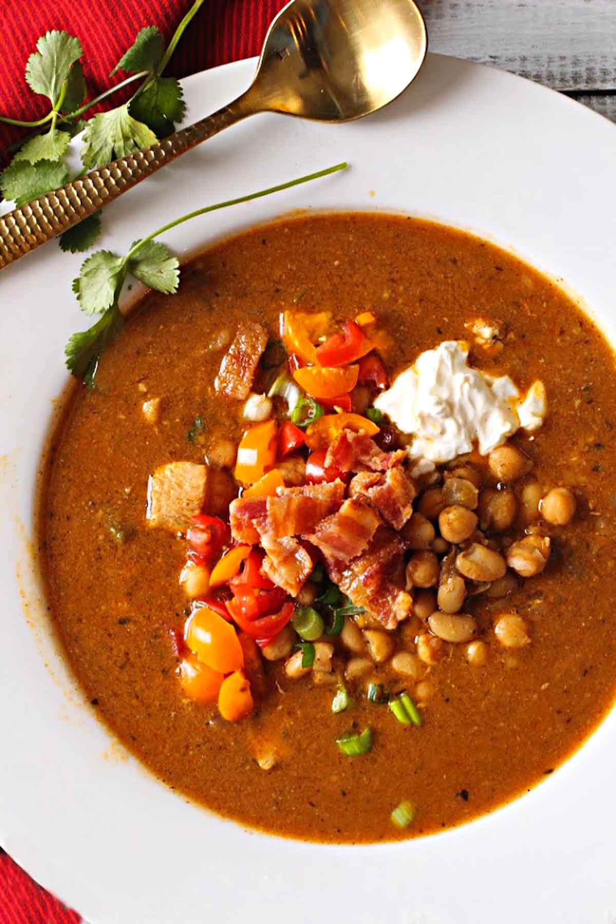 Chickpea chili with white beans and chicken