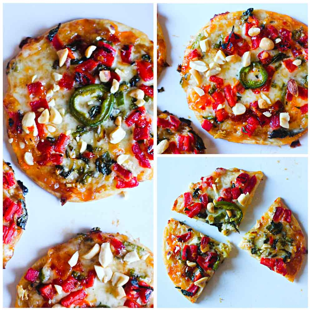 Thai Pizza made with flour tortillas
