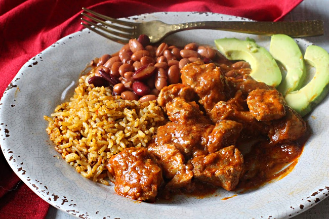 Carne Adovada with Spanish Rice and Pinto Beans