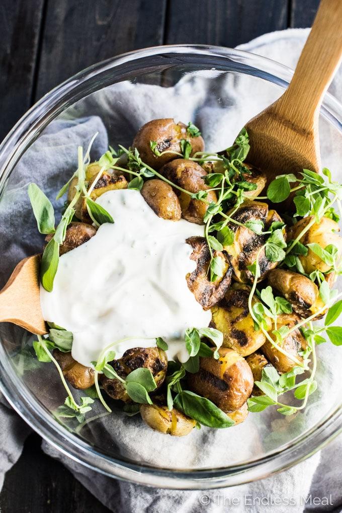 Grilled Smashed Potato Salad