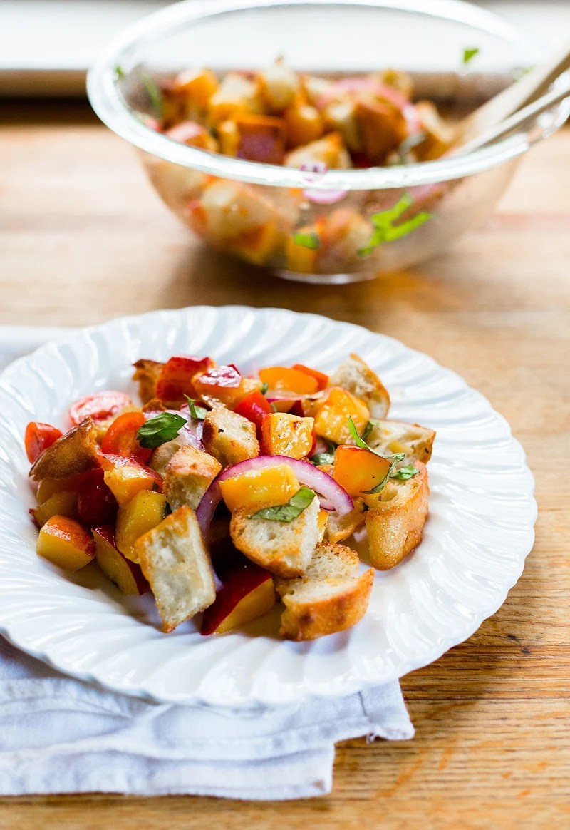 Peach Panzanella Salad for 4th of July sides