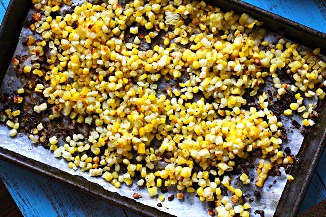 Roasting corn for fresh sweet corn soup