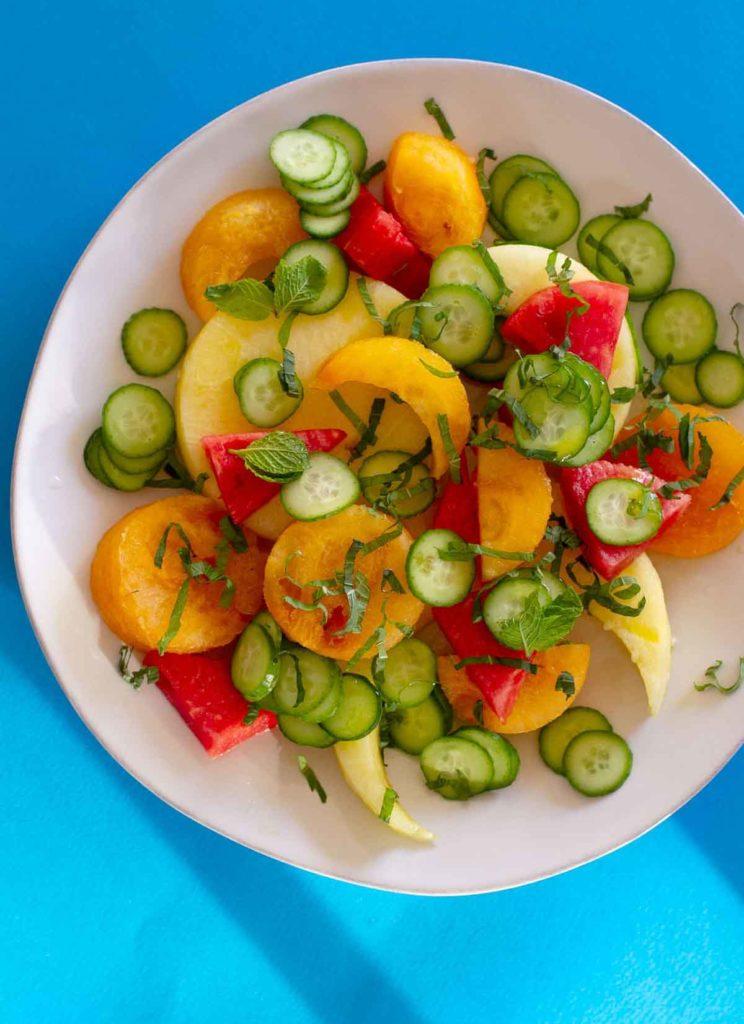 Watermelon, cucumber mint salad